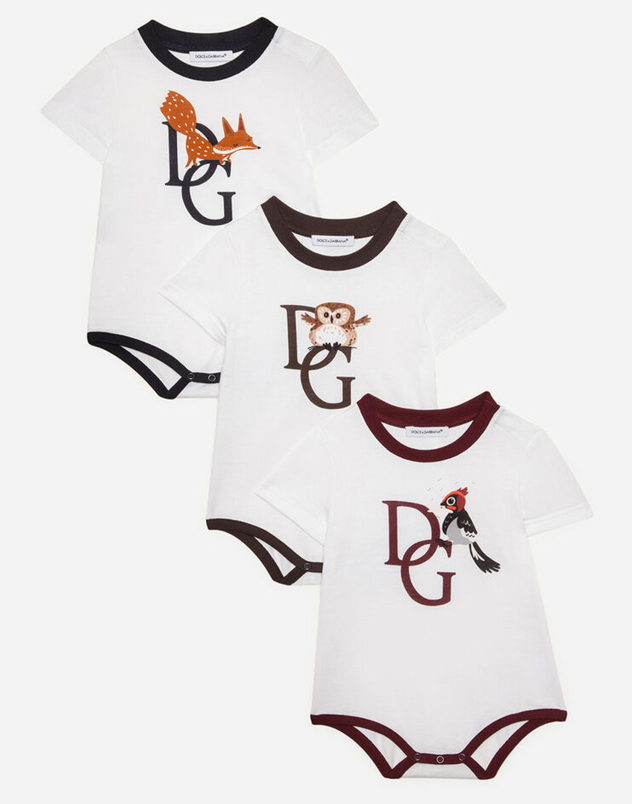 Set Regalo 3 Body In Jersey Stampa Animaletti - Dolce & Gabbana Junior