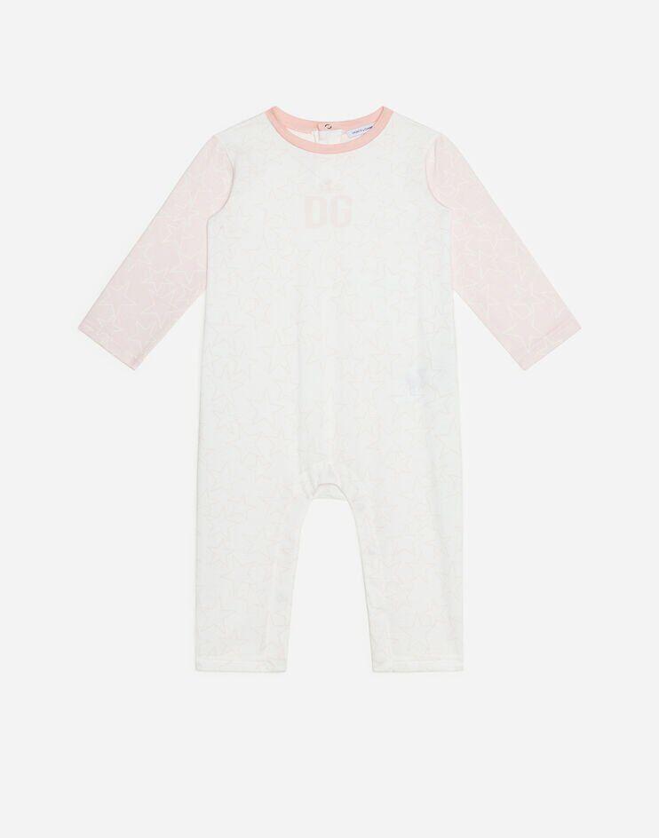 Tutina In Jersey Stampa Stelle Fondo Rosa - Dolce & Gabbana Junior