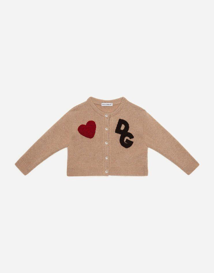 Cardigan In Lana Patch Dg - Dolce & Gabbana Junior