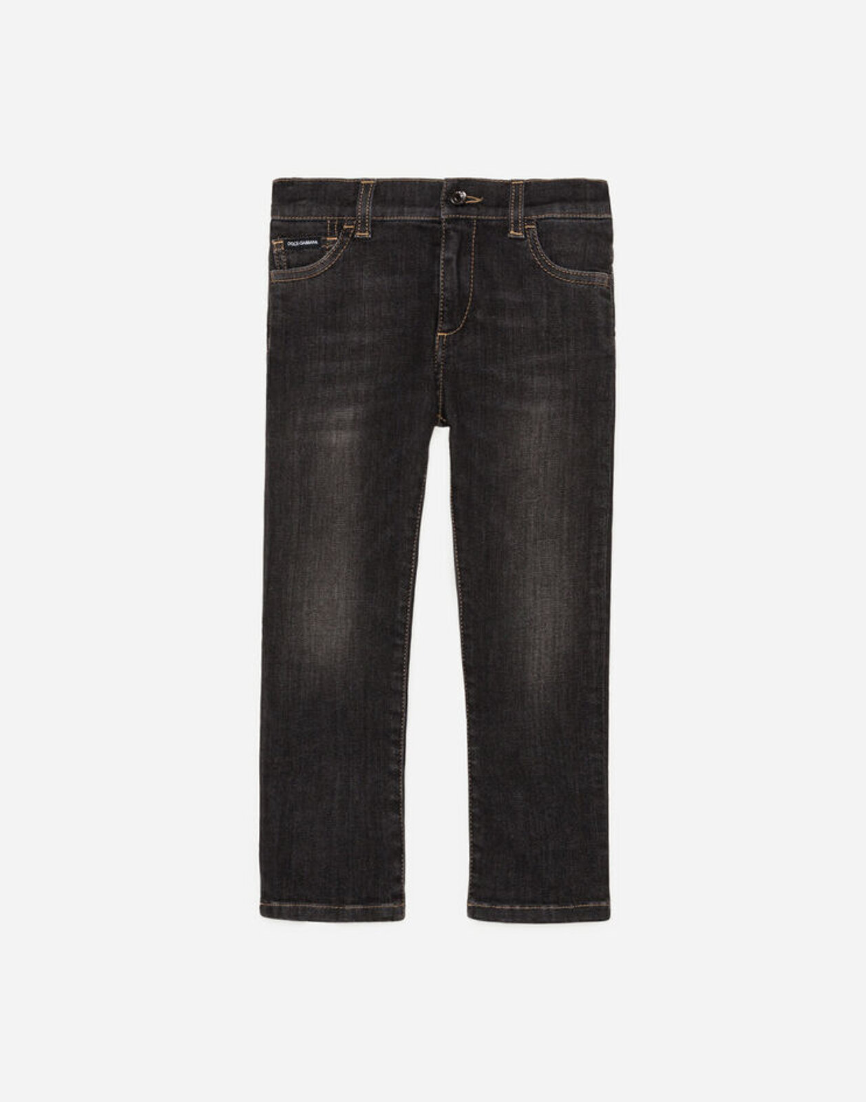 Jeans Regular Stretch Grigio Con Abrasioni - Dolce & Gabbana Junior
