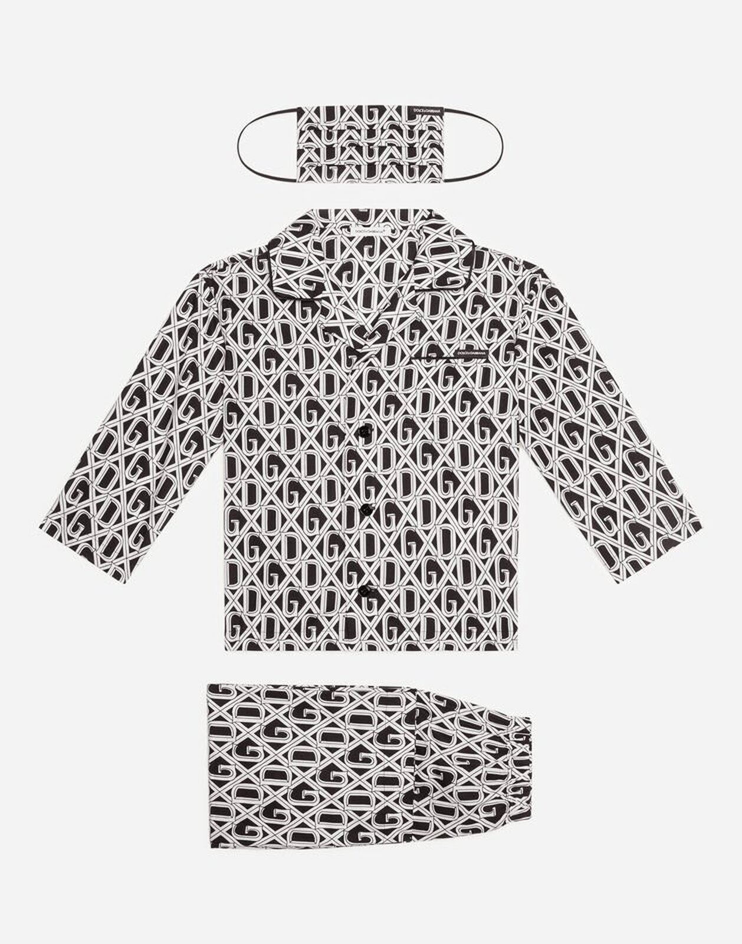 Completo Pigiama Con Mascherina Stampa Dg - Dolce & Gabbana Junior