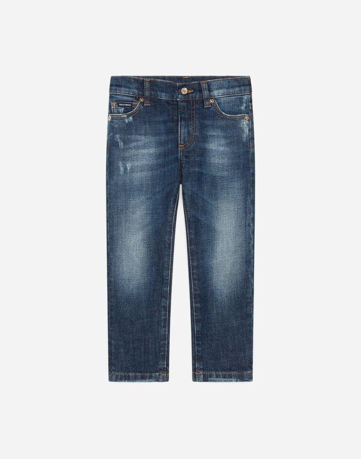 Jeans Slim Stretch Blu Lavato Con Abrasioni - Dolce & Gabbana Junior
