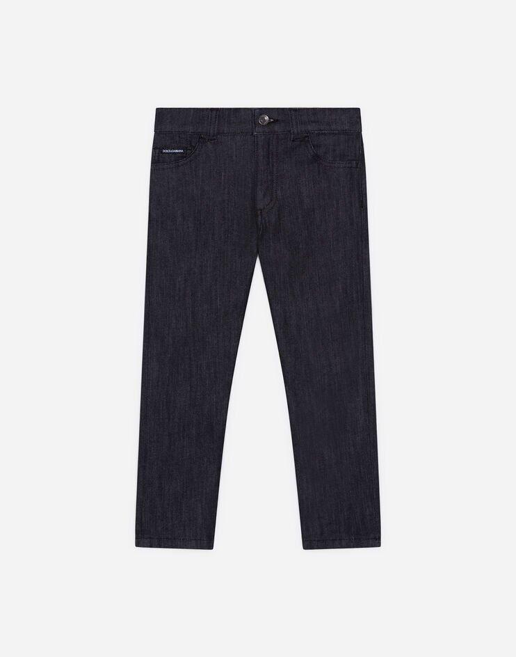 Jeans Slim Stretch Nero Lavato Con Patch Dg - Dolce & Gabbana Junior