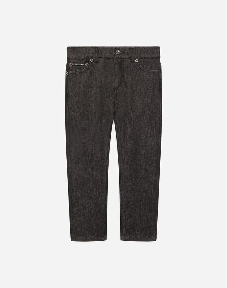 Jeans Stretch Nero Con Patch Dg Basket - Dolce & Gabbana Junior
