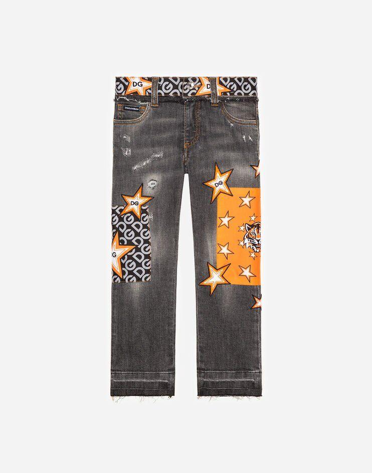 Jeans Slim Stretch Grigio Con Inserti In Raso - Dolce & Gabbana Junior