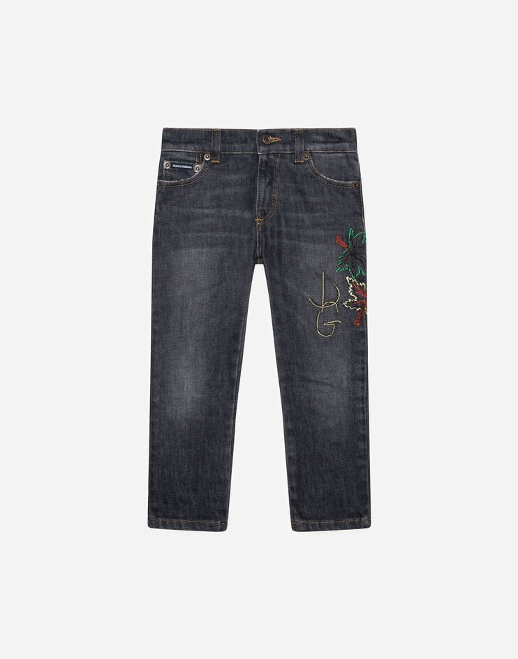 Jeans Regular Stretch Antracite Scurissimo Ricamo Foglie Dg - Dolce & Gabbana Junior
