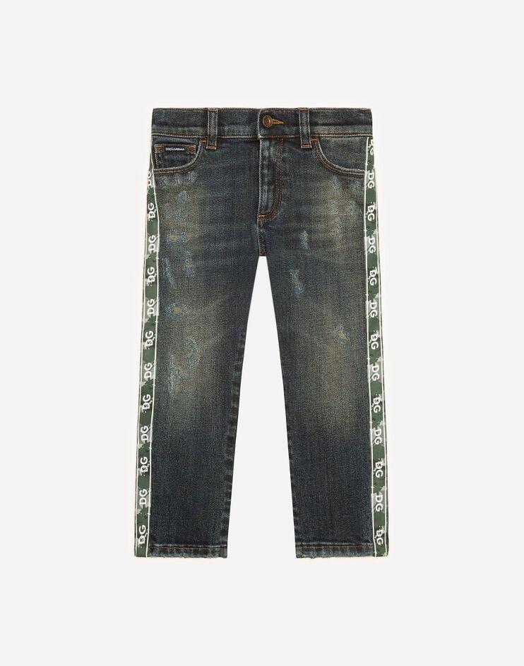 Jeans Regular Stretch Con Bande Stampa Dg - Dolce & Gabbana Junior