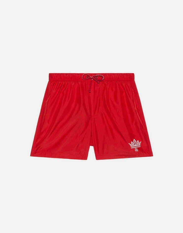 Boxer Da Mare In Nylon Stampa Logo - Dolce & Gabbana Junior