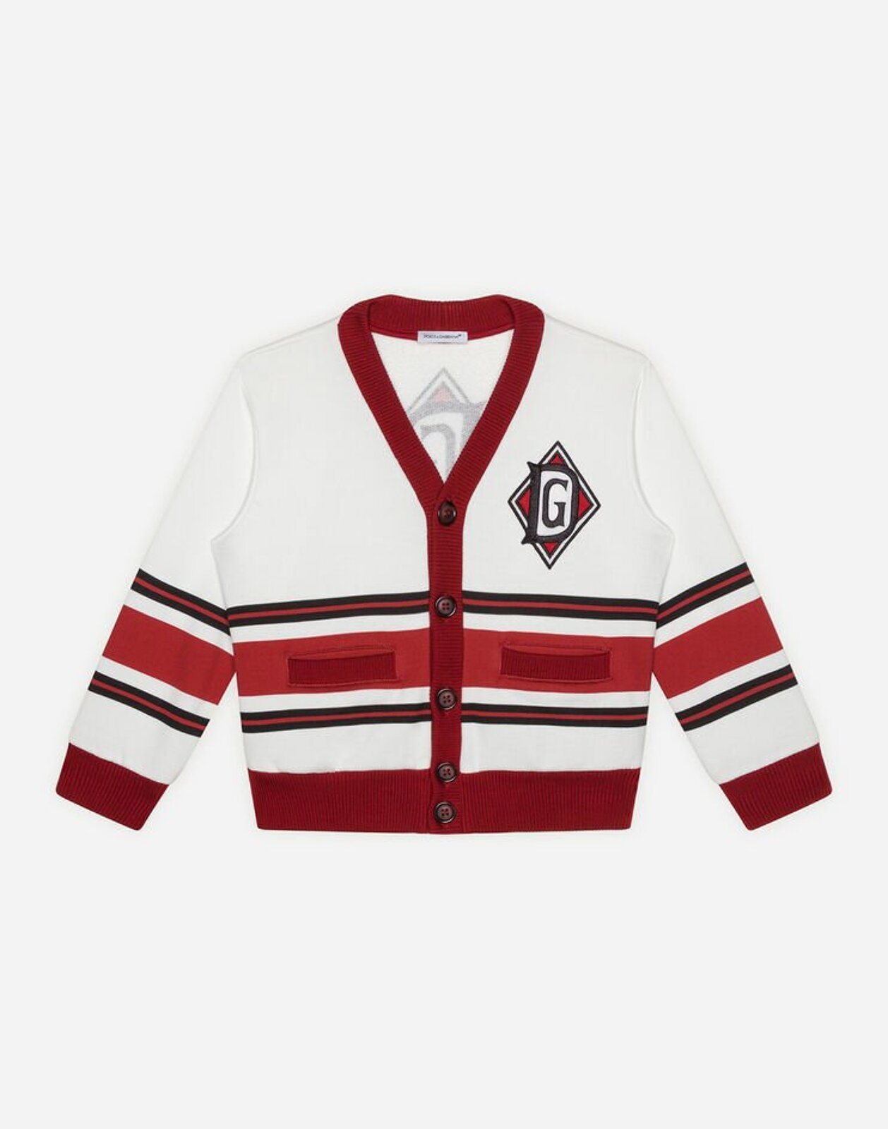 Cardigan In Jersey Stampa Dna Con Patch - Dolce & Gabbana Junior
