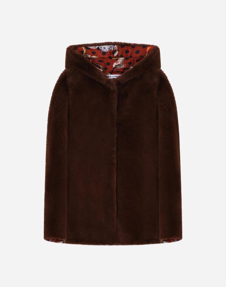 Mantella Con Cappuccio In Eco Fur - Dolce & Gabbana Junior