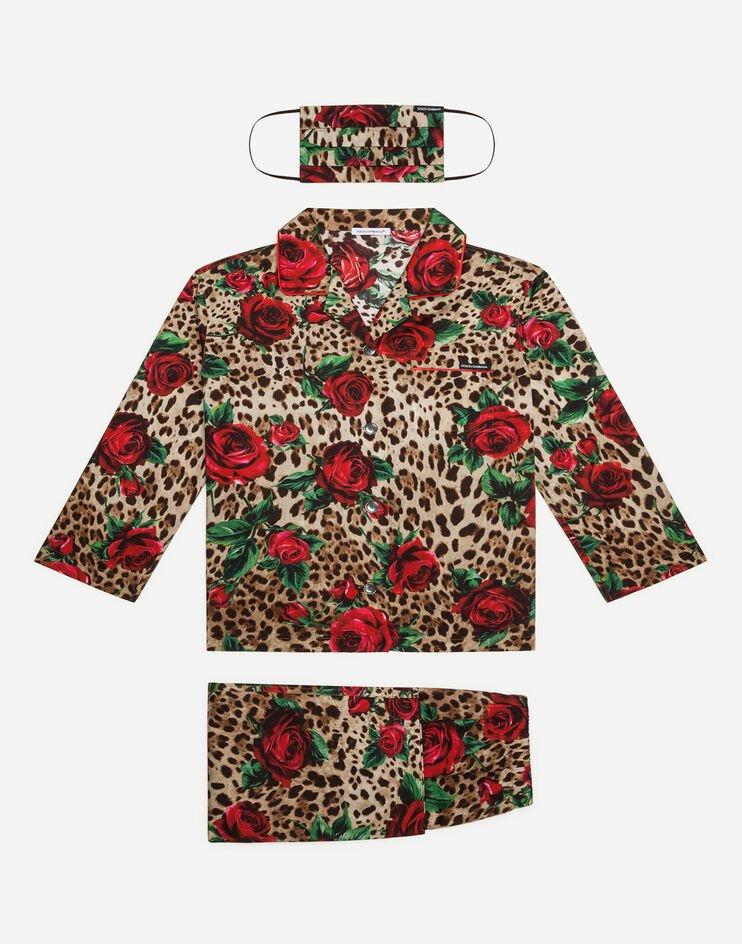 Completo Pigiama Con Mascherina Stampa Leo E Rose Rosse - Dolce & Gabbana Junior