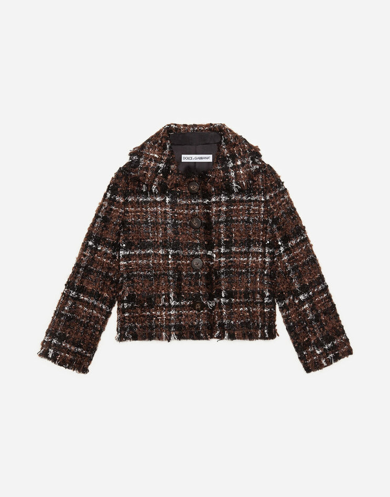 Giacca Corta In Tweed Lamé - Dolce & Gabbana Junior
