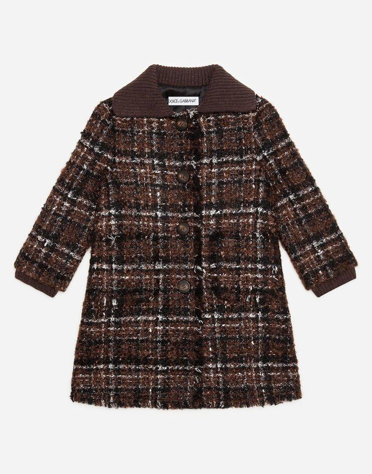 Cappotto Monopetto In Tweed - Dolce & Gabbana Junior