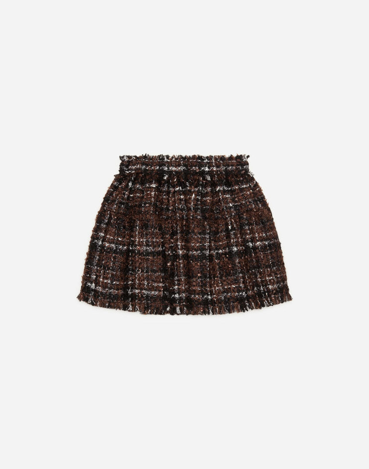 Gonna Corta In Tweed Lamé - Dolce & Gabbana Junior