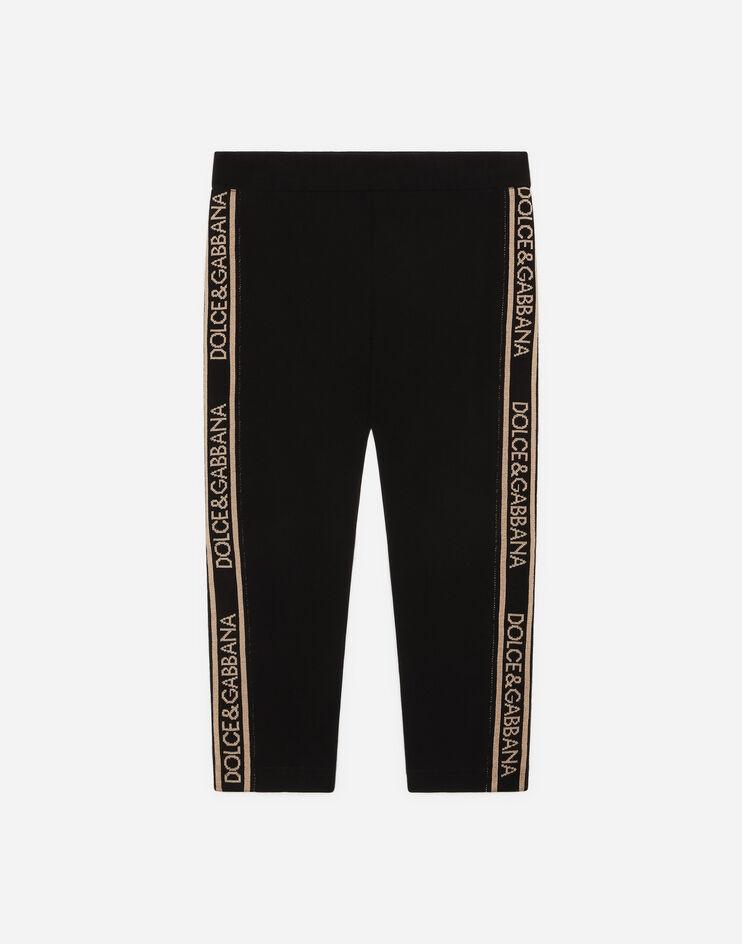 Leggings In Interlock Con Bande Logo Jacquard - Dolce & Gabbana Junior