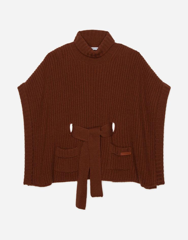 Poncho In Maglia Con Cintura - Dolce & Gabbana Junior