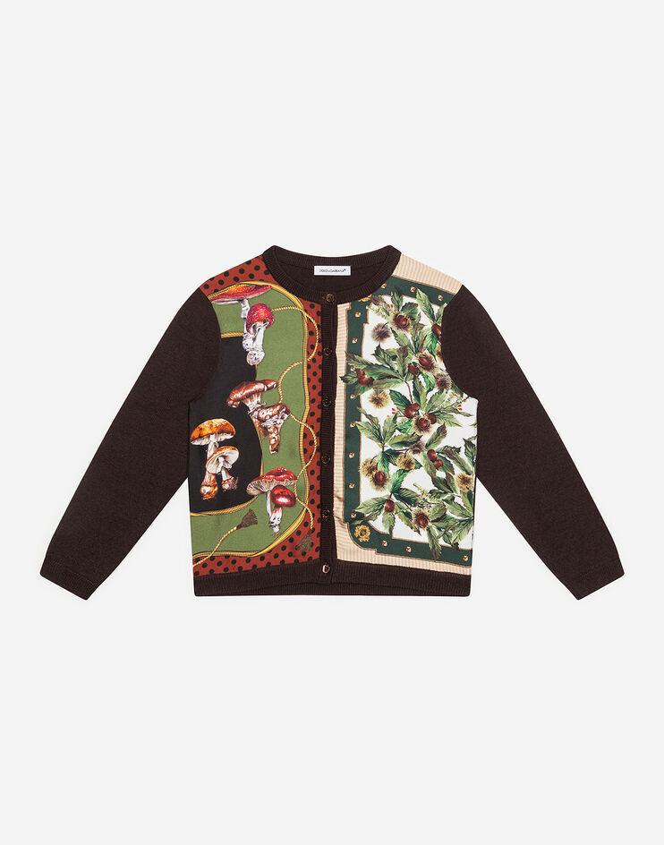 Cardigan In Lana E Seta Stampa Autunno - Dolce & Gabbana Junior