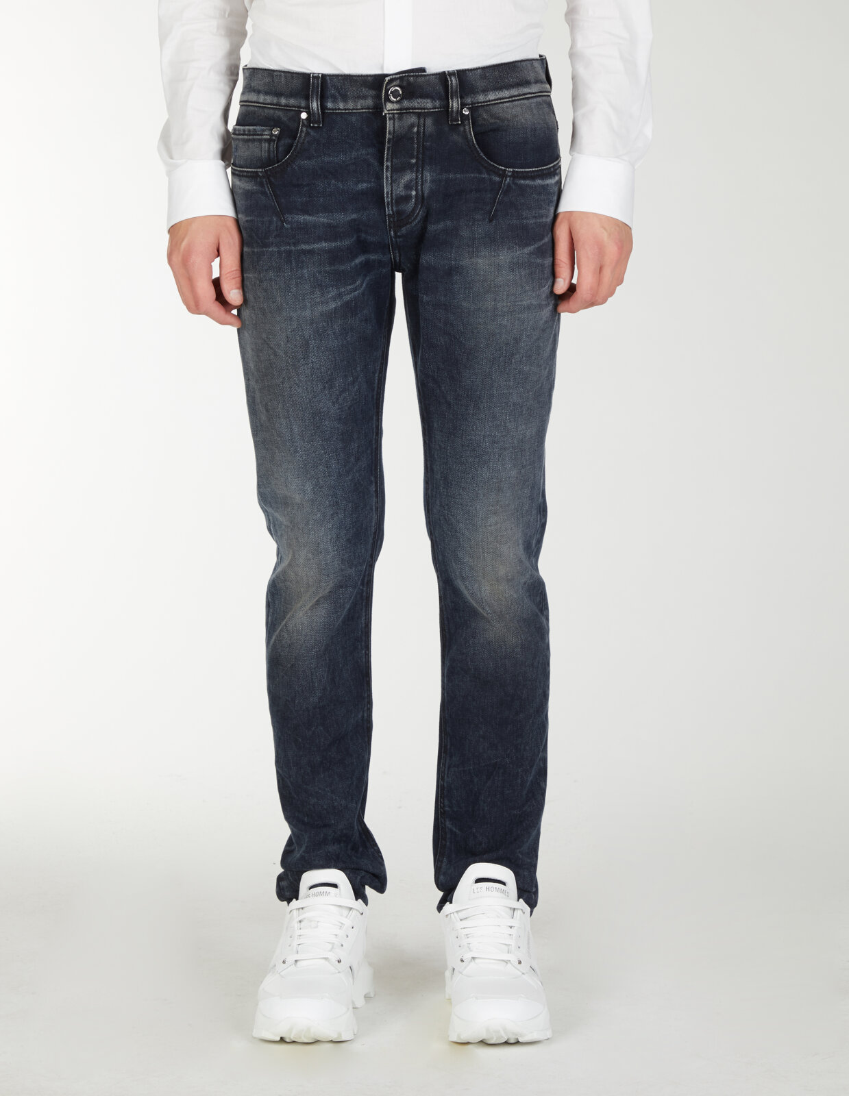 Slim Fit Jeans With Leather Pocket - Les Hommes