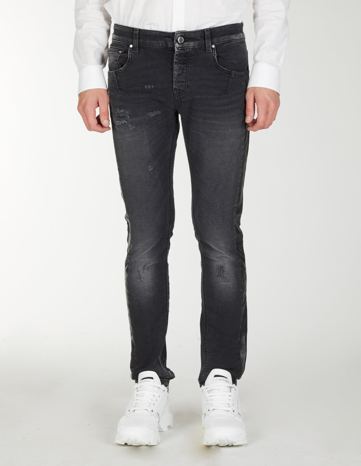 Slim Fit Jeans With Leather Band - Les Hommes