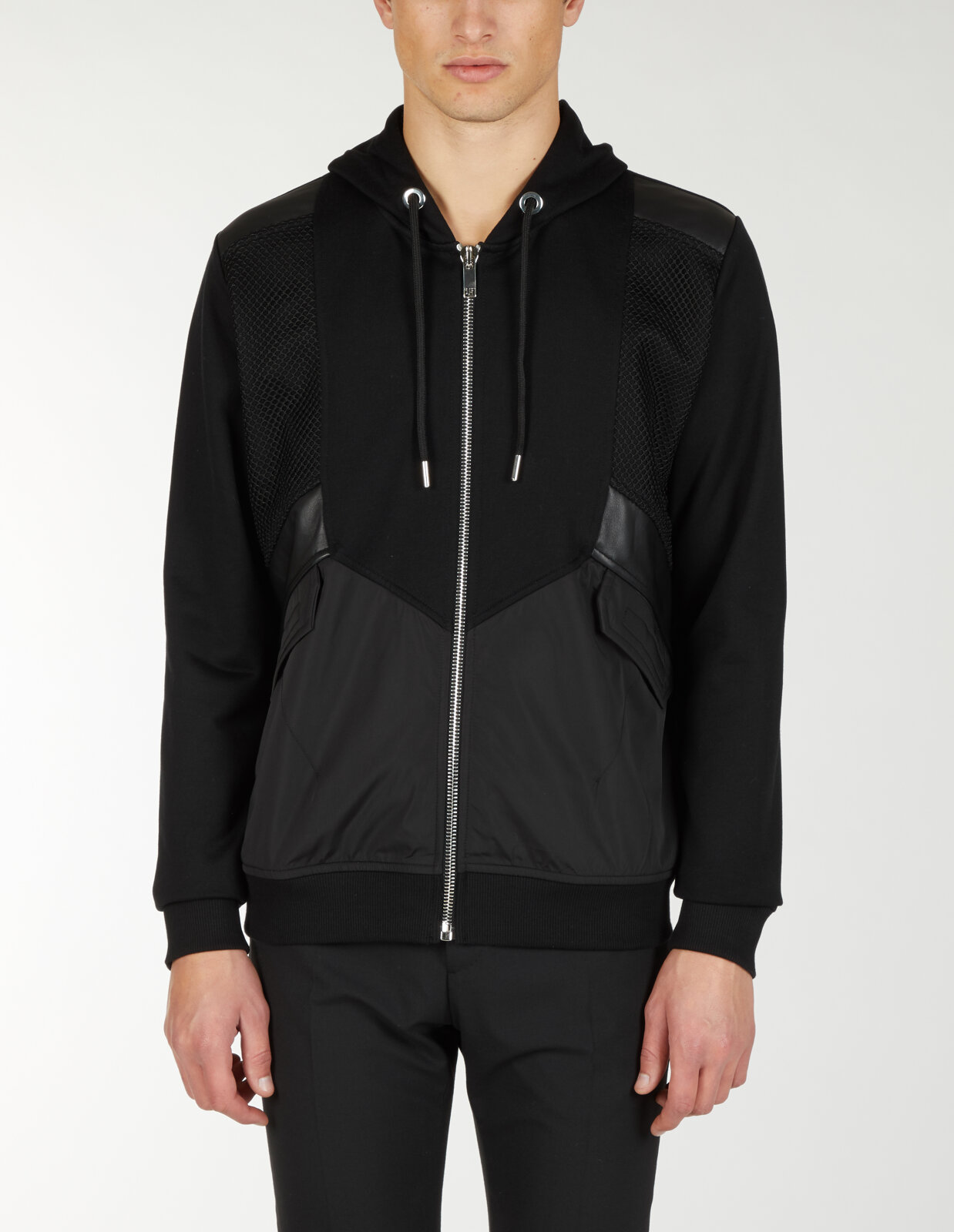 Zip Up Hoodie Mixed Fabric - Les Hommes