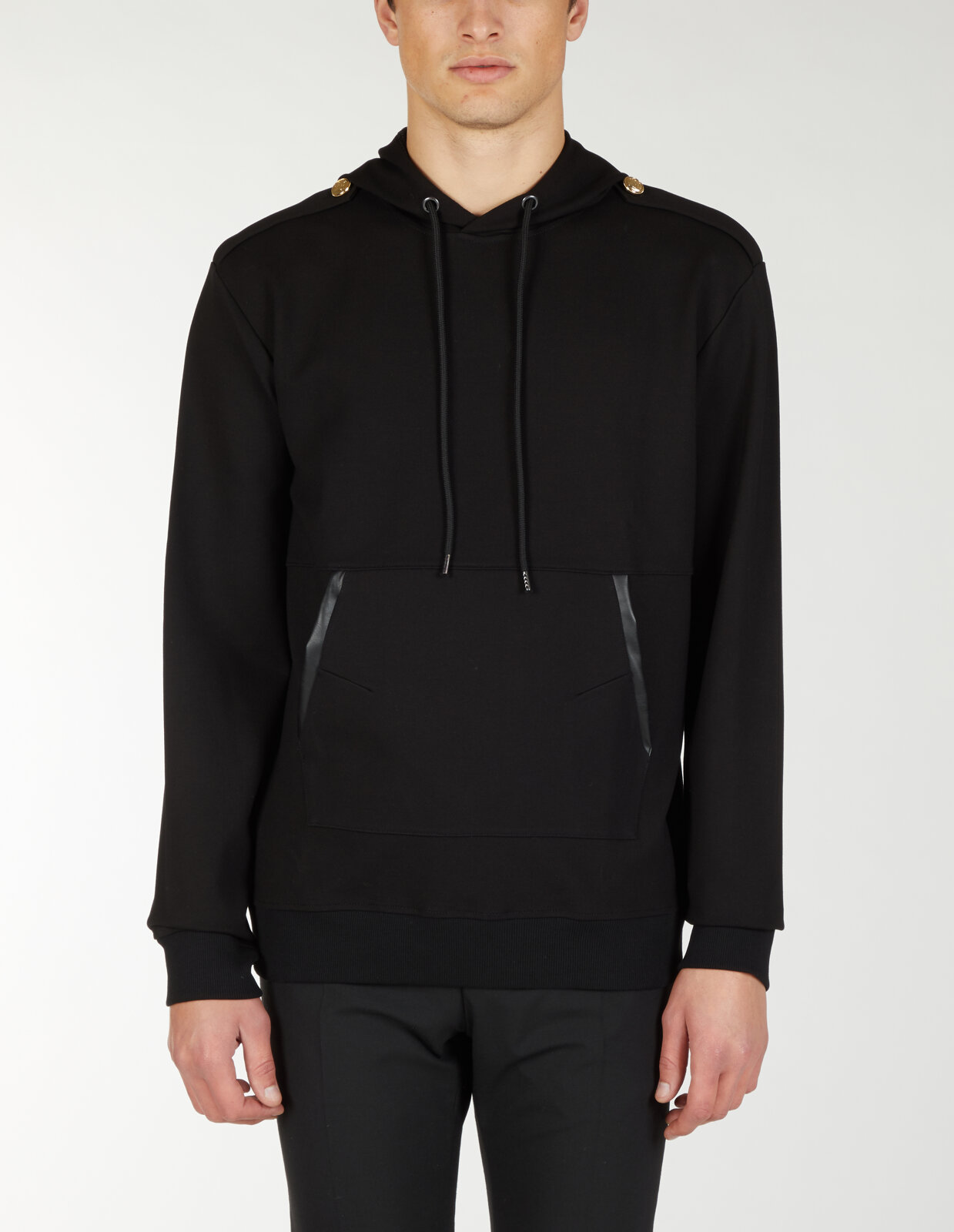 Hoodie With Net And Leather - Les Hommes
