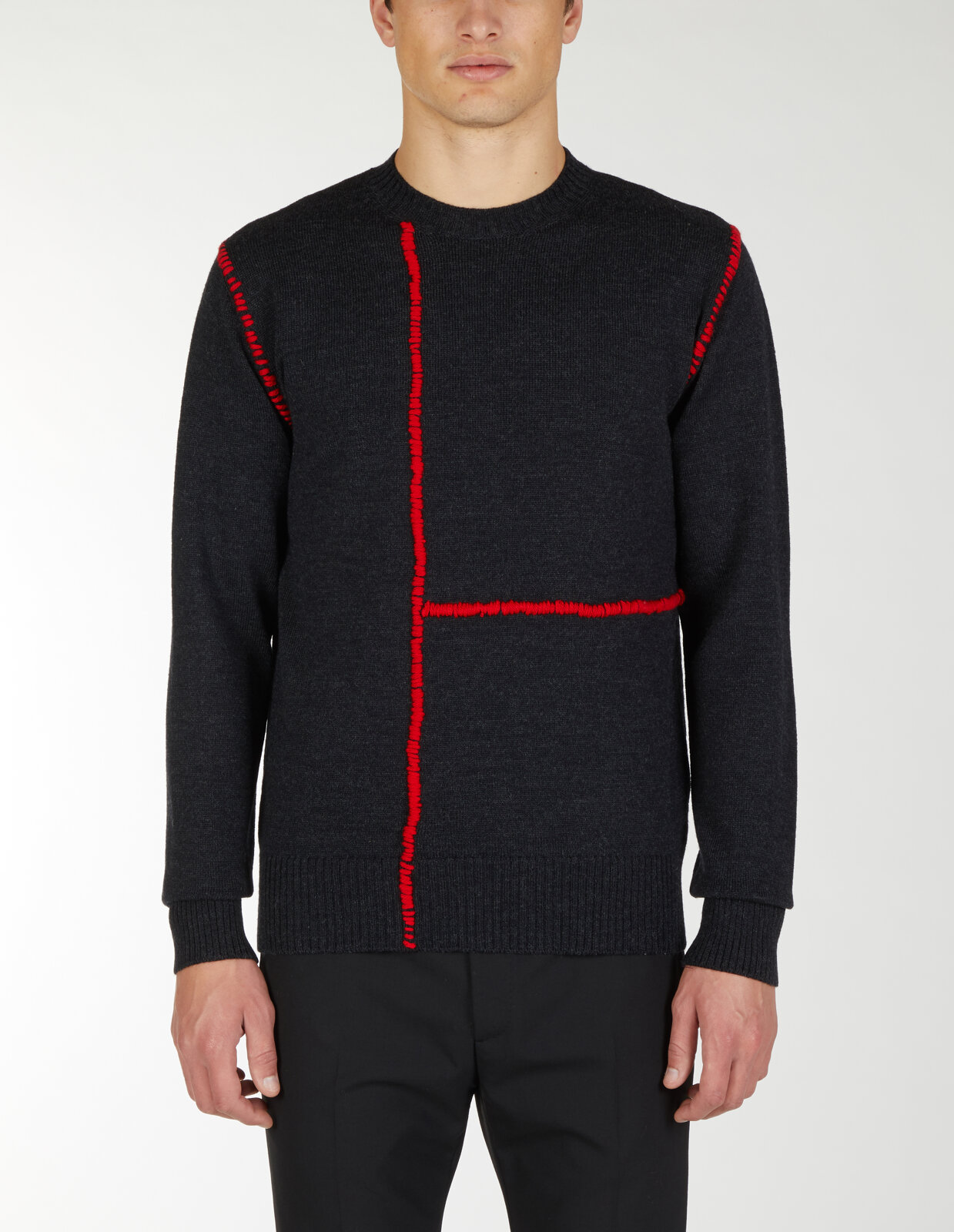 Round Neck Sweater With Cuts - Les Hommes