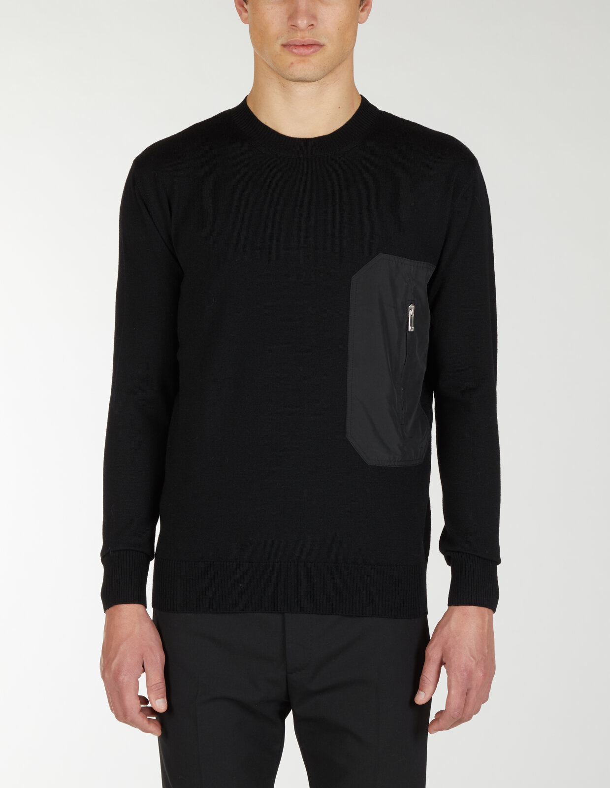 Round Neck Sweater With Nylon Pocket - Les Hommes