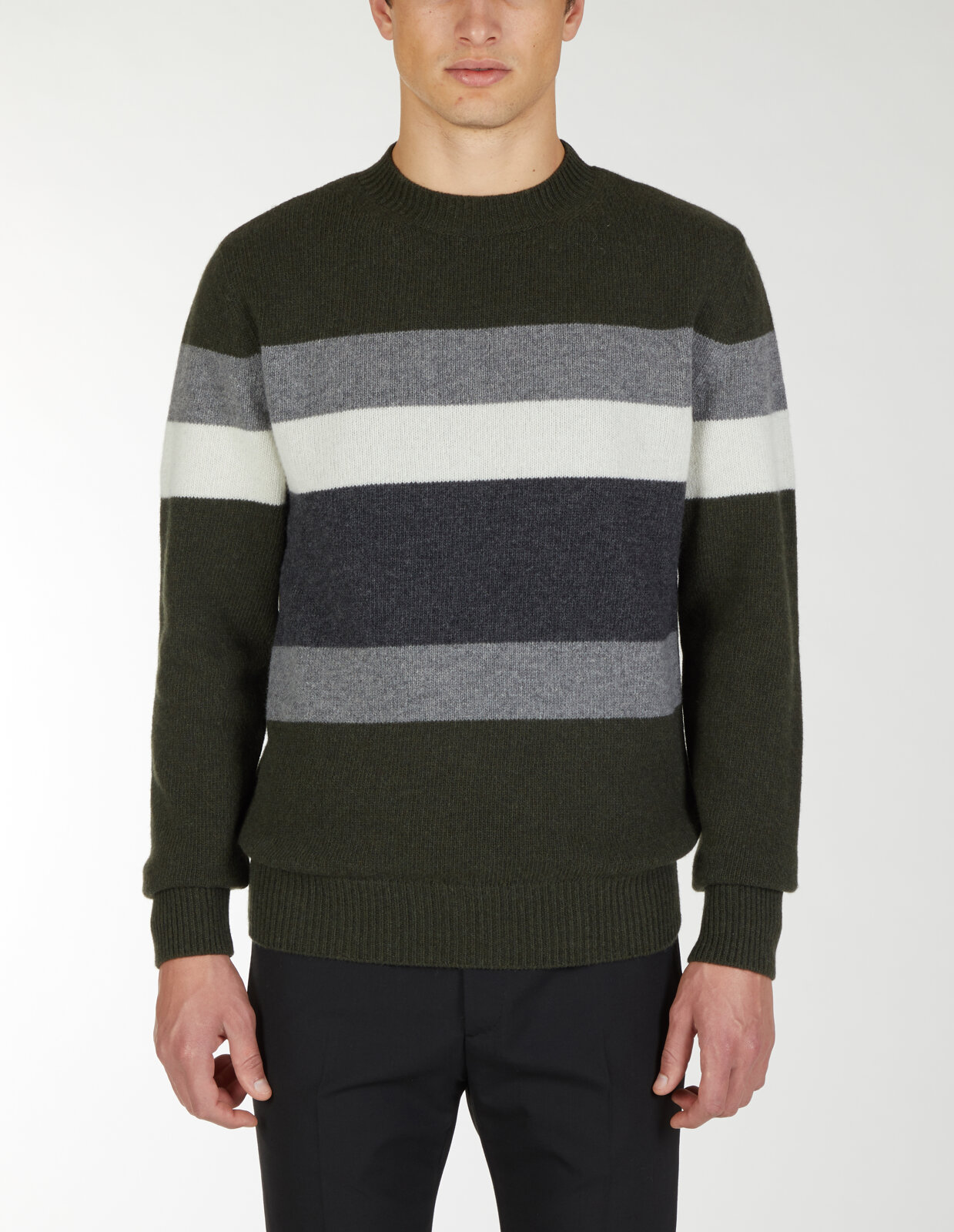 Round Neck Sweater With Horizontal Lines - Les Hommes