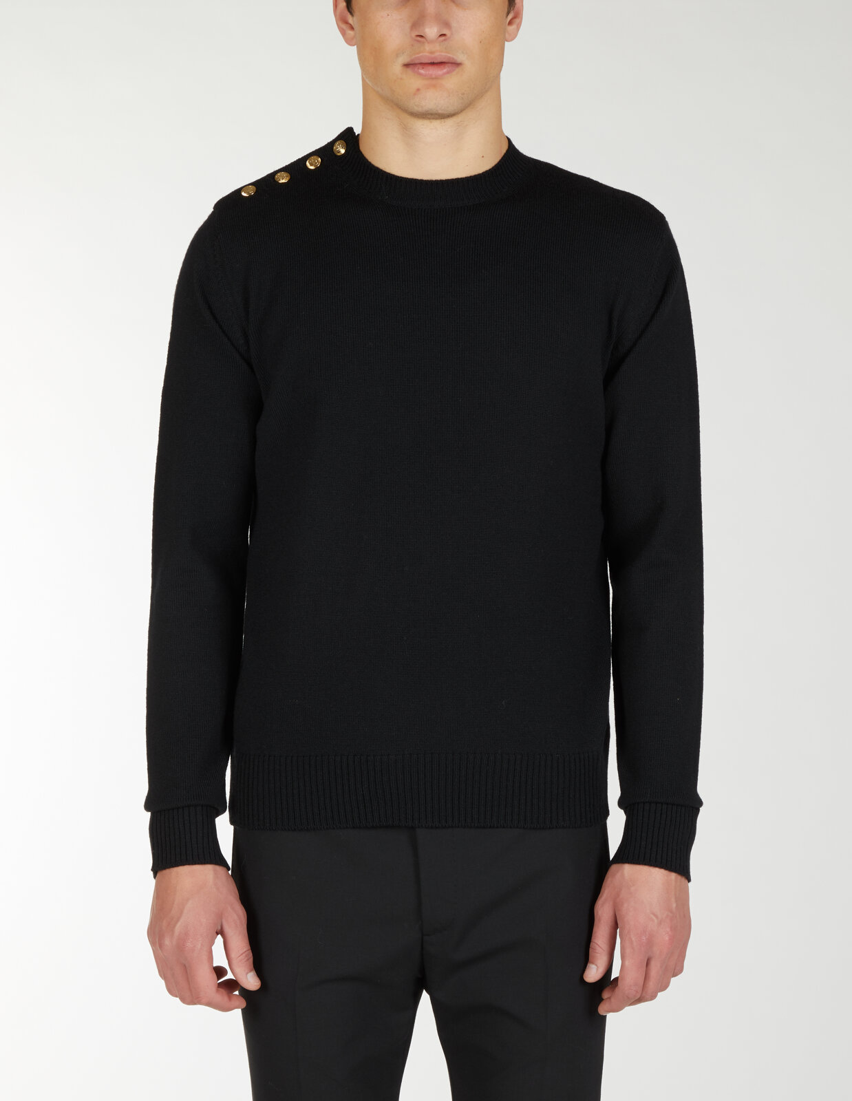 Round Neck Sweater With Buttons On Shoulder - Les Hommes