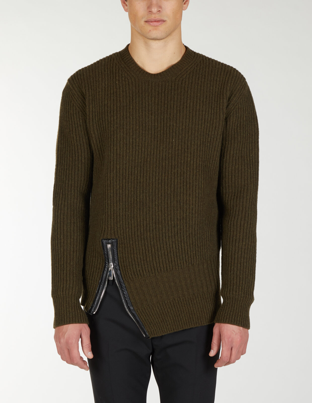 Round Neck Sweater With Asymmetric Zip - Les Hommes