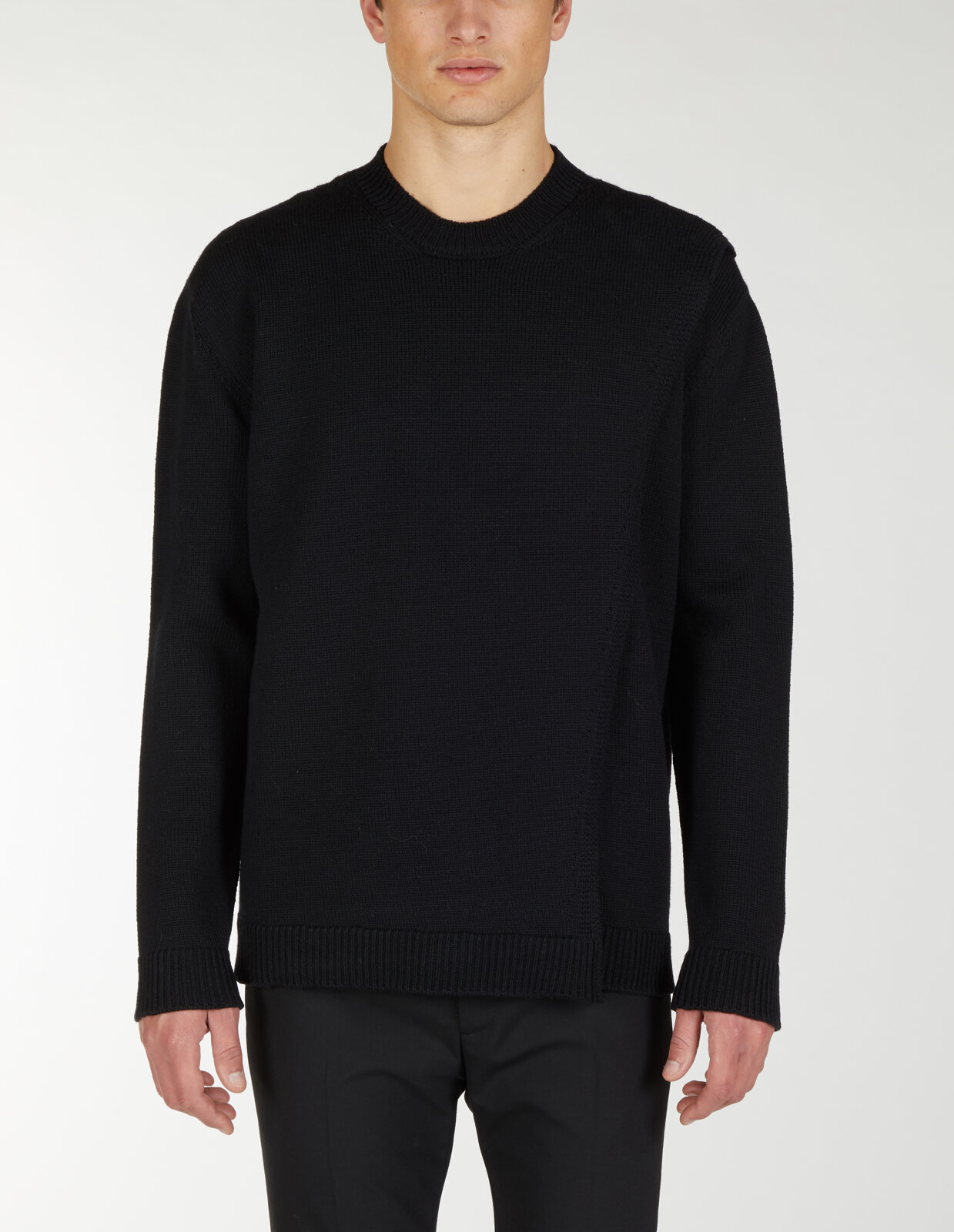 Round Neck Sweater With Asymmetric Rib - Les Hommes