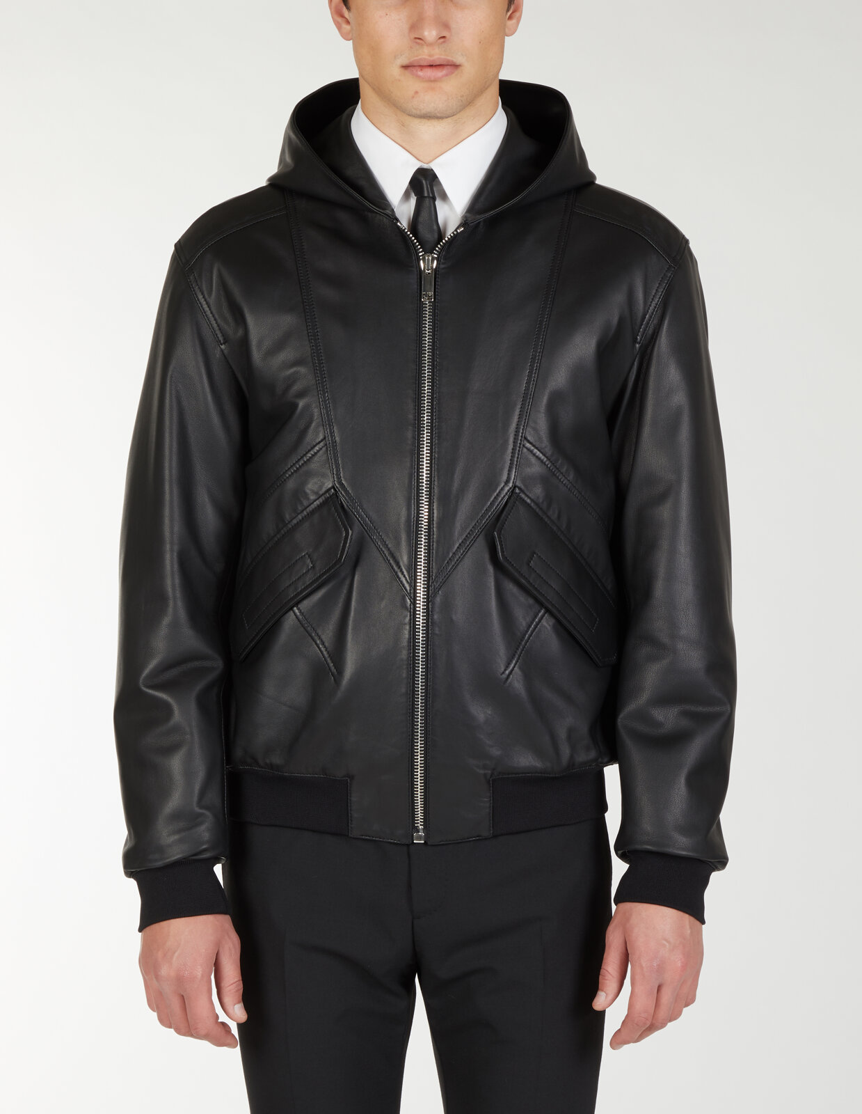 Zipped Leather Jacket With Hood - Les Hommes