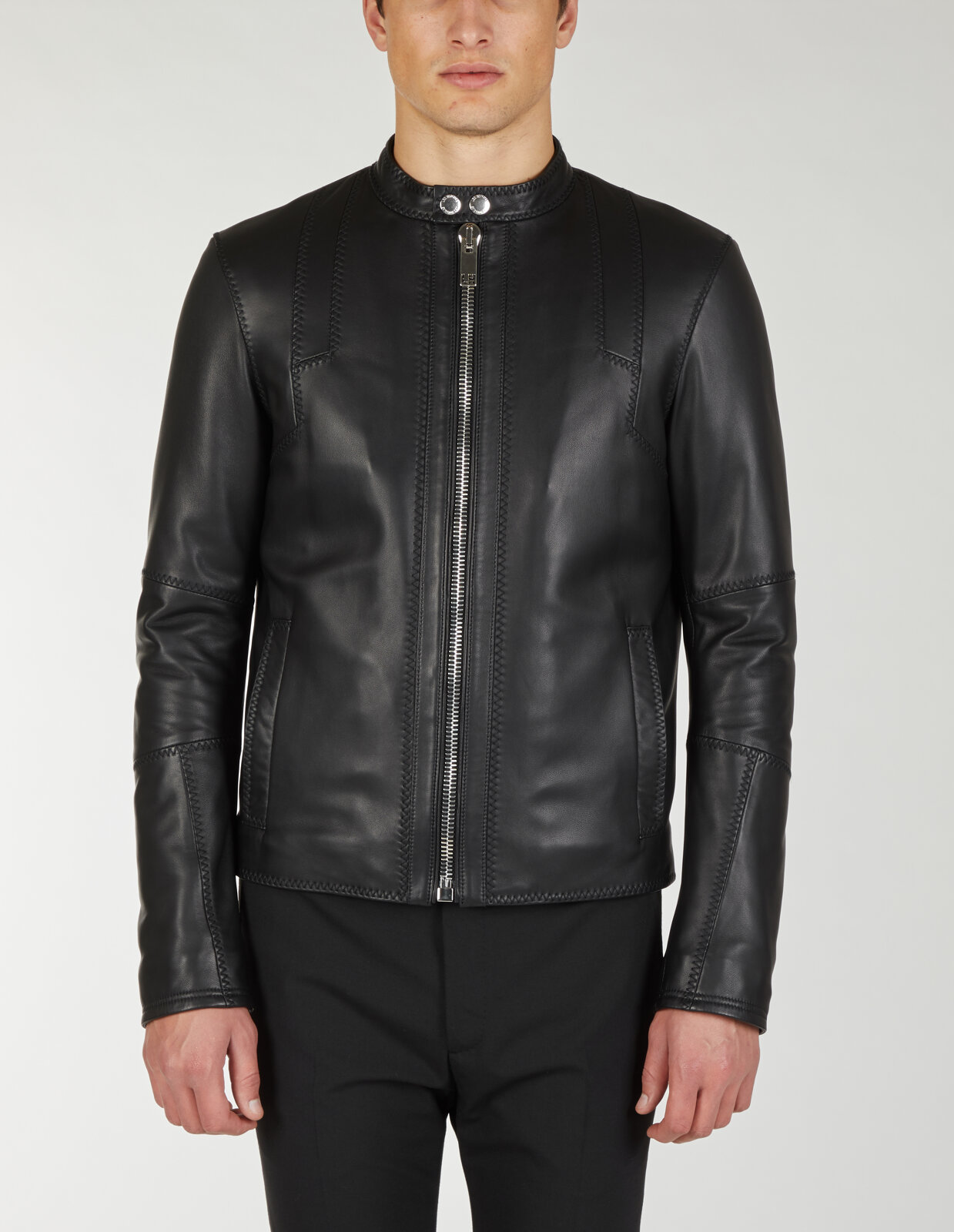 Leather Biker With Stitching Details - Les Hommes