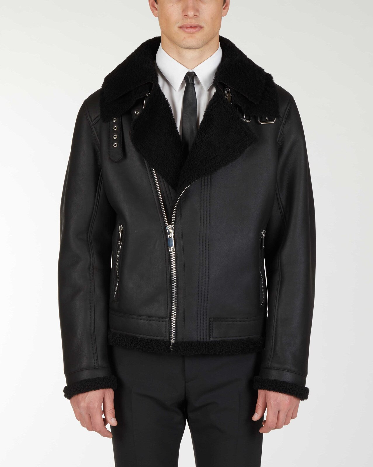 Double Collar Puffy Leather Jacket - Les Hommes