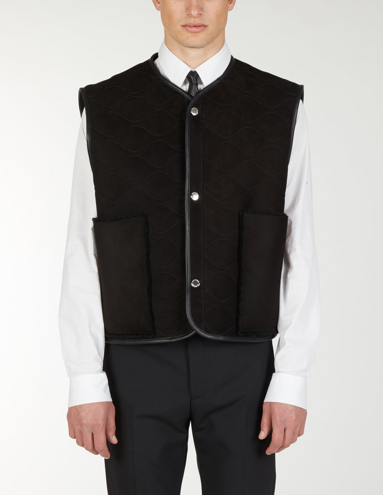Gilet Con Tasche In Shearling - Les Hommes