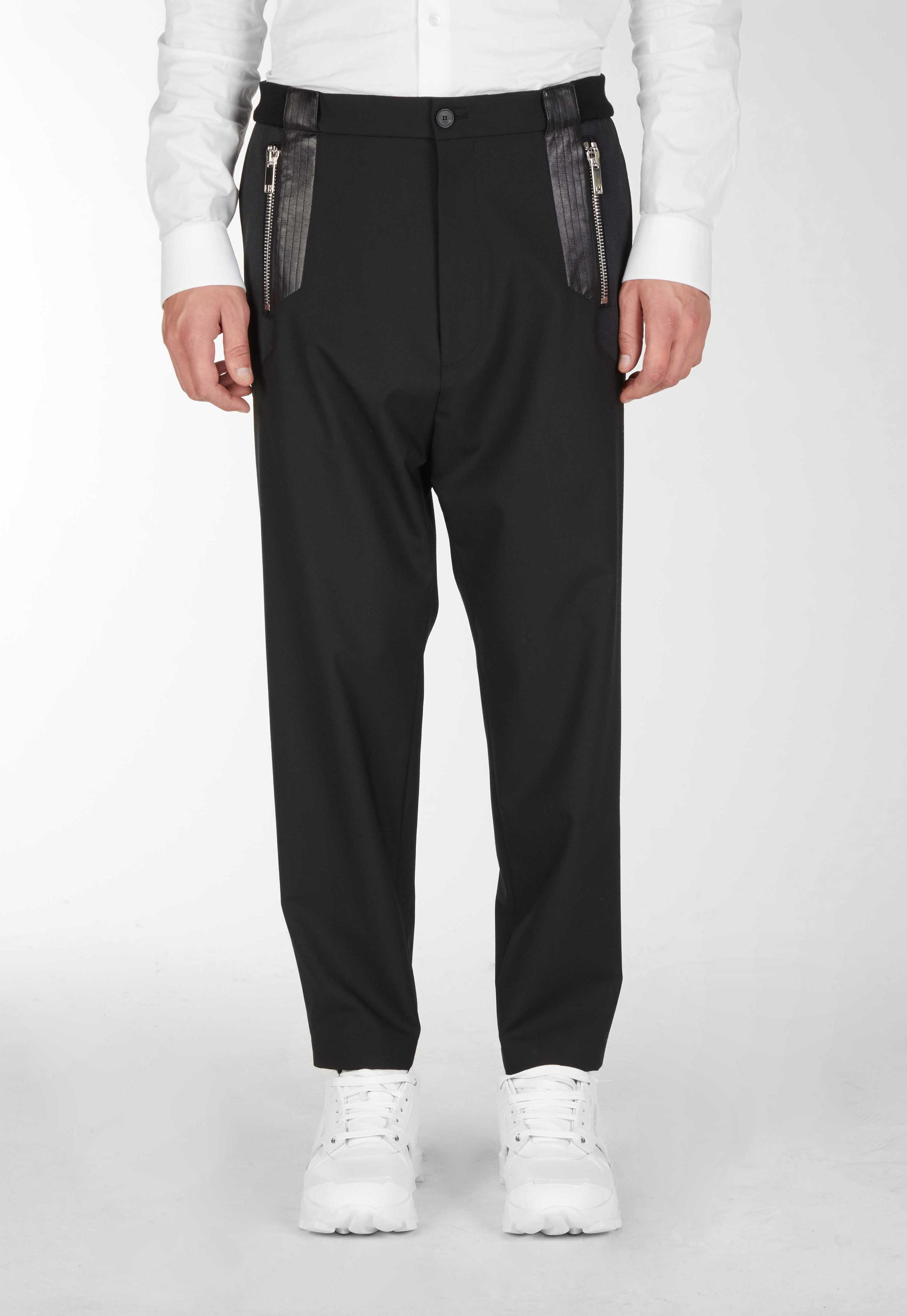 Pantaloni Con Tasche In Pelle - Les Hommes