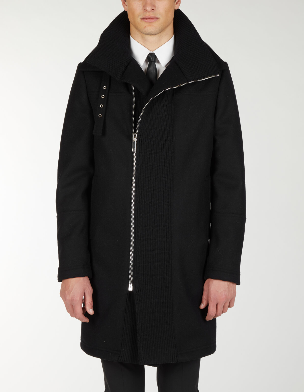 Coat With High Knitted Collar - Les Hommes