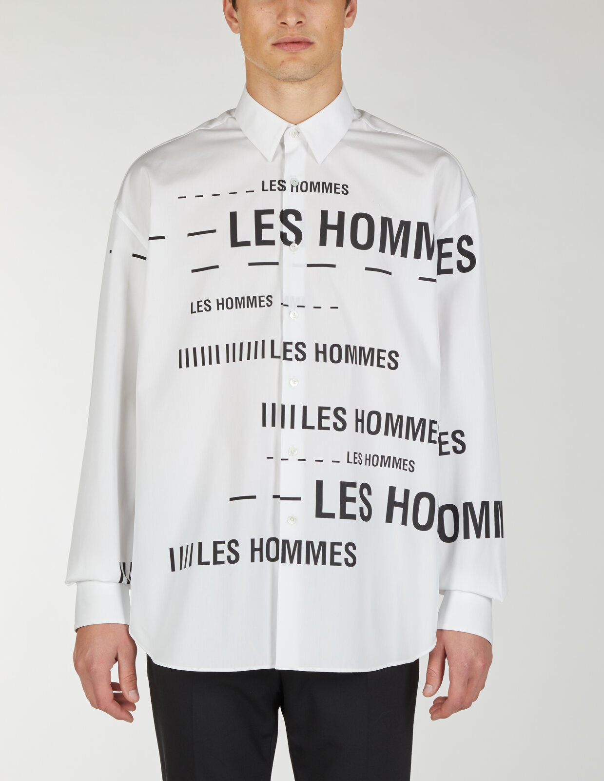 Camicia Relaxed Con Stampa Lh Barcode - Les Hommes