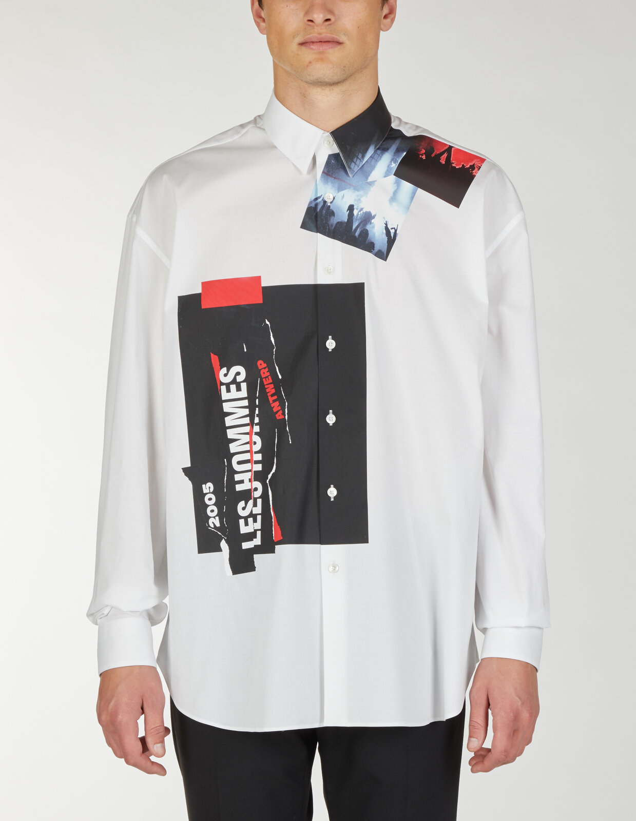 Camicia oversize con stampa collage - Les Hommes