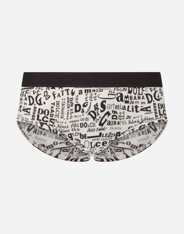 Slip Brando In Cotone Stampa Scritte Fondo Bianco - Dolce & Gabbana