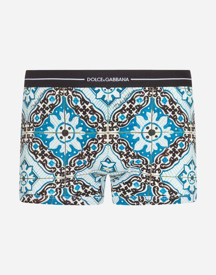 Boxer In Cotone Stampa Maioliche Fondo Celeste - Dolce & Gabbana