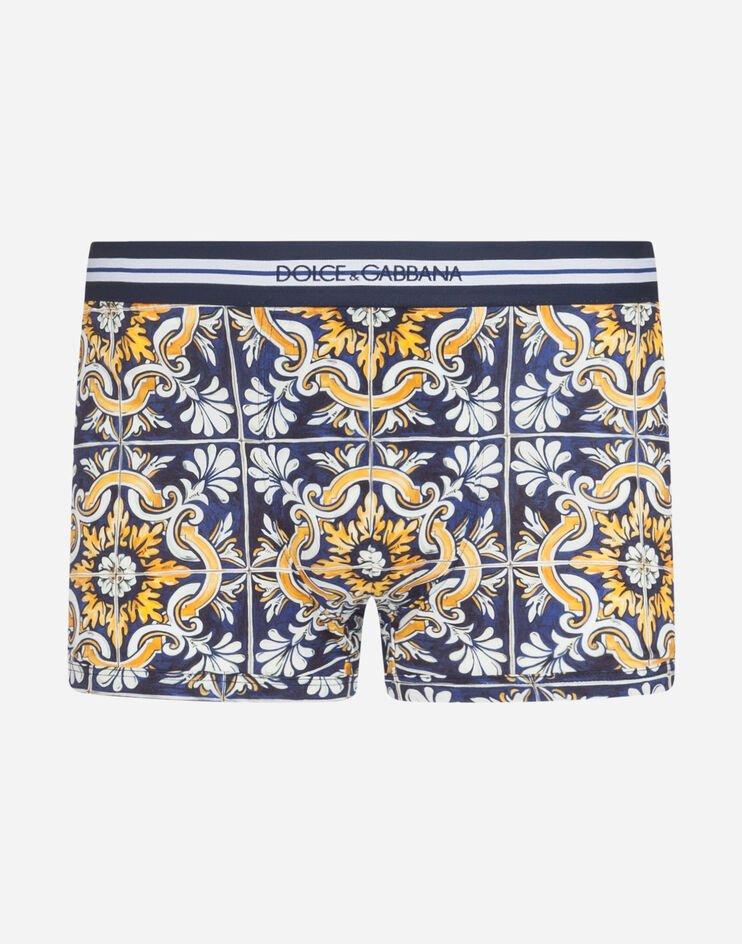 Boxer In Cotone Stampa Maioliche Fondo Blu - Dolce & Gabbana
