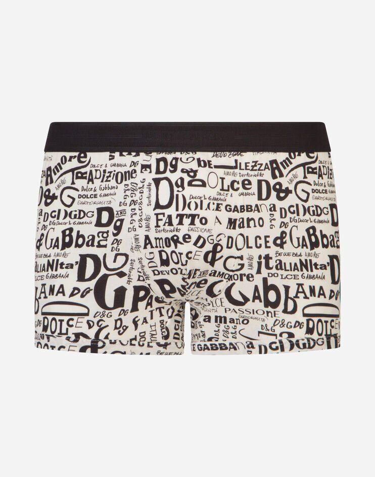 Boxer In Cotone Stampa Scritte Fondo Bianco - Dolce & Gabbana