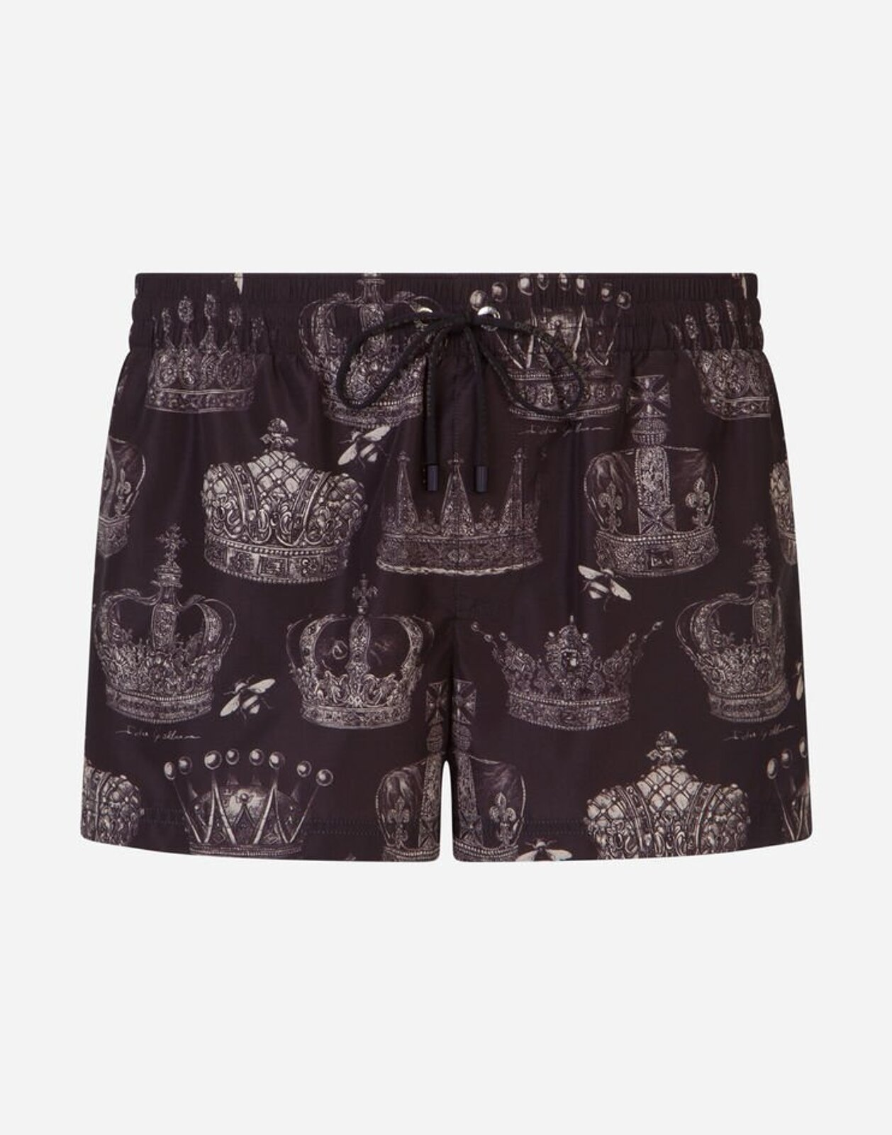 Short Swim Trunks With Crowns Print - Dolce & Gabbana