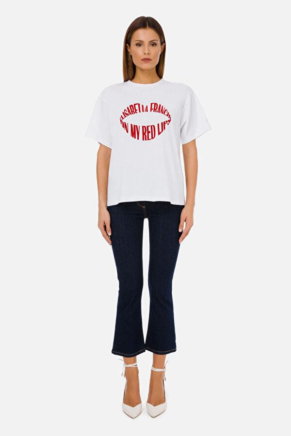 T-Shirt Elisabetta Franchi Red Lips - Elisabetta Franchi