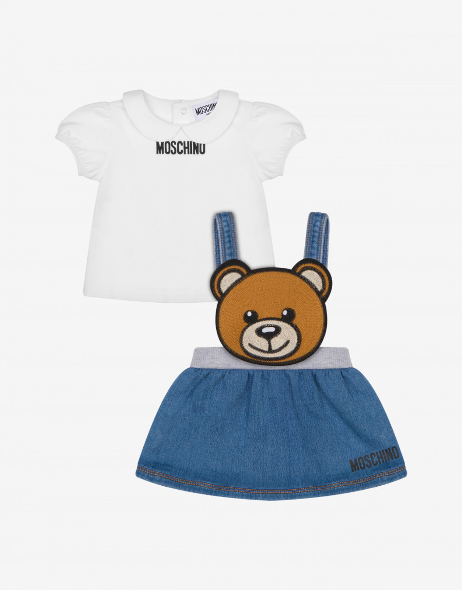 Completo T-Shirt E Gonna Salopette - Moschino Junior