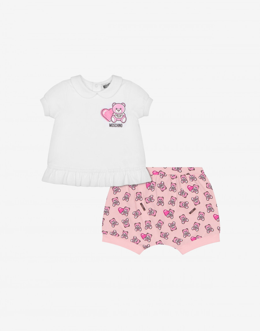 Completo T-Shirt E Short Heart Teddy Bear - Moschino Junior