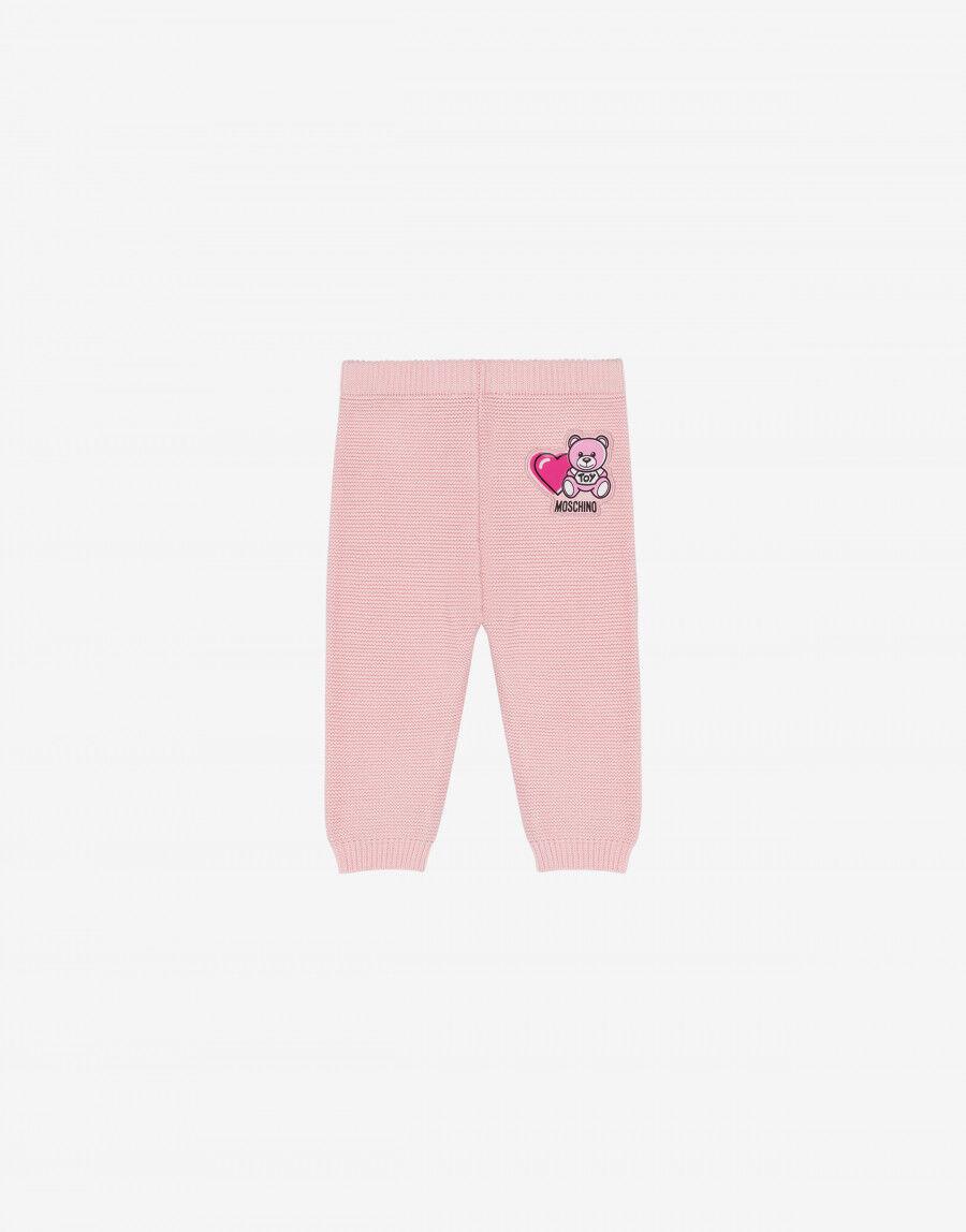 Pantalone In Maglia Di Cotone Lovely Teddy Bear - Moschino Junior