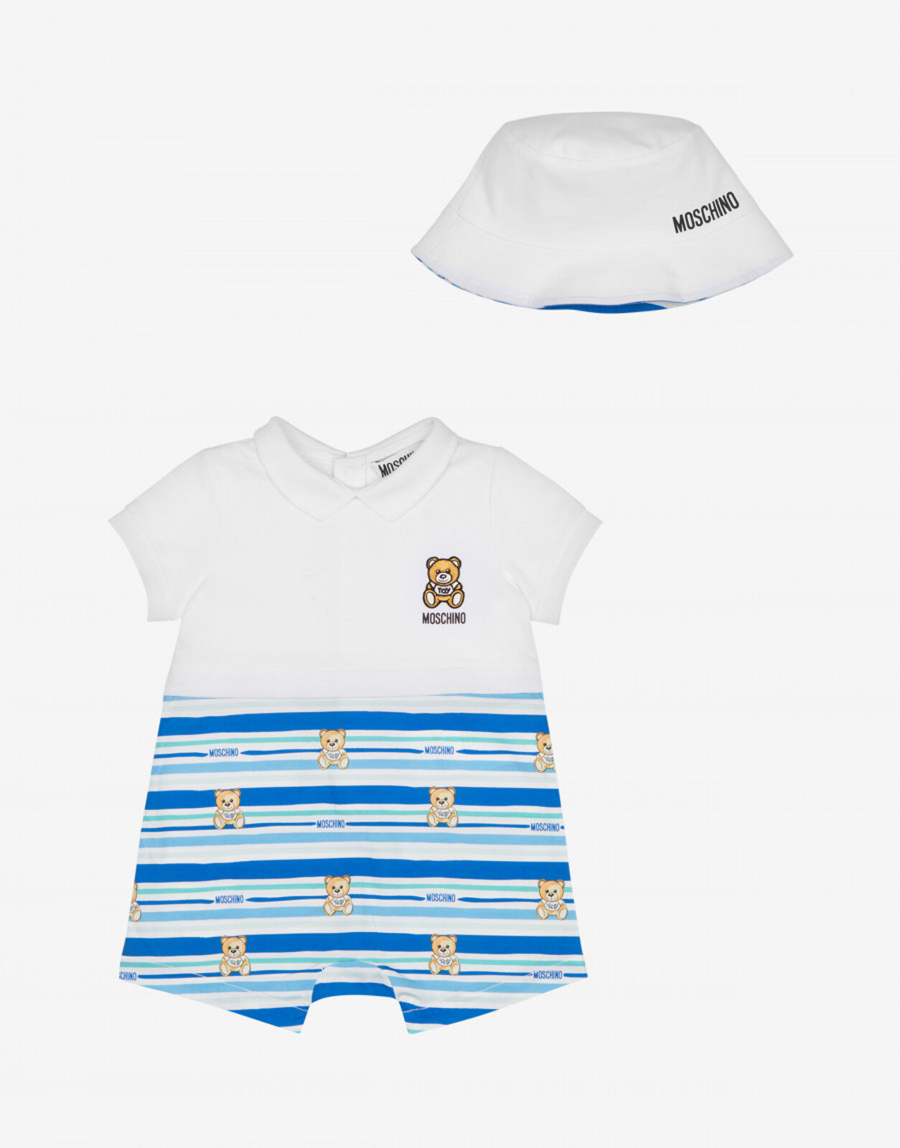 Set Tutina E Cappello Teddy Stripes - Moschino Junior