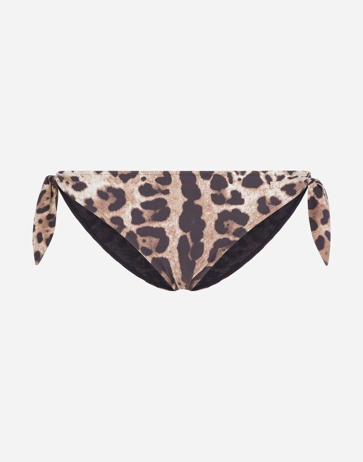 Slip Da Mare Con Fiocchi Stampa Leopardo - Dolce & Gabbana